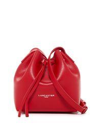 Lancaster Paris Red Pur Saffiano Leather Mini Bucket Bag