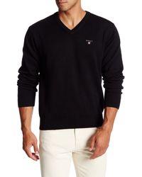 Gant Rugger | Black Solid V-neck Sweater for Men | Lyst