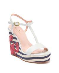 Kate Spade White Deacon Lobster Stripe Wedge Sandal