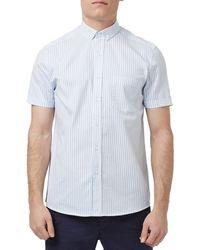 TOPMAN Blue Slim Fit Short Sleeve Stripe Shirt for men