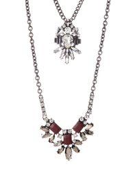 ABS By Allen Schwartz - Metallic Double Row Stone Pendant Necklace - Lyst