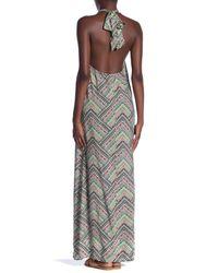 Love Stitch Multicolor Printed Halter Maxi Dress