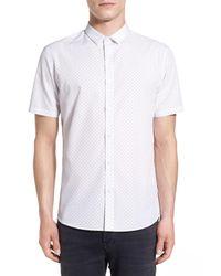 TOPMAN | White Trim Fit Dot Print Short Sleeve Shirt for Men | Lyst