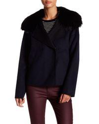 10 Crosby Derek Lam | Blue Genuine Fox Fur Trim Wool Blend Cropped Pea Coat | Lyst