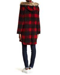 BB Dakota - Red Lia Coat W/ Faux Fur Trim Hoodie - Lyst