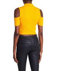 BCBGMAXAZRIA Multicolor Cold Shoulder Cropped Sweater