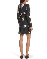 Free People | Black Long Sleeve Floral Print Dress | Lyst