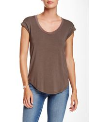 Heather by Bordeaux - Brown Scoop Neck Tee - Lyst