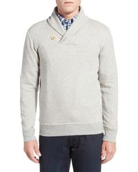 Brooks Brothers Gray Knit Fleece Shawl Collar Pullover for men