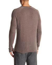 Autumn Cashmere Multicolor Covered Placket Henley Cashmere Sweater for men