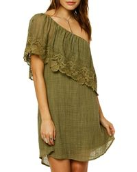 O'neill Sportswear Green Eryn One-shoulder Dress