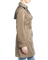 Ellen Tracy   Natural Techno Double Breasted Trench Coat   Lyst