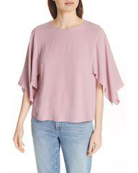 Eileen Fisher - Pink Slit Sleeve Silk Top - Lyst