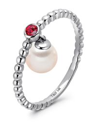 Tara Pearls | 14k White Gold Ruby & Akoya Pearl Dangle Stackable Ring - Size 7 | Lyst