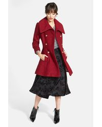 Guess Red Double Breasted Boucl? Coat (regular & Petite)
