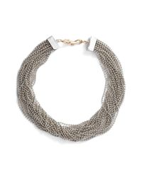 Steve Madden - Metallic Beaded Interlock Necklace - Lyst