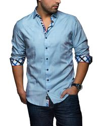Au Noir - Blue Coronado Jacquard Slim Fit Shirt for Men - Lyst