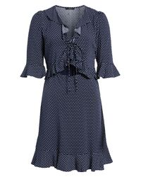 Soprano - Blue Ruffle Polka Dot Dress - Lyst
