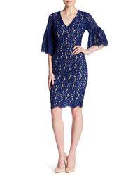 Alexia Admor - Blue V-neck Elbow Sleeve Lace Dress - Lyst
