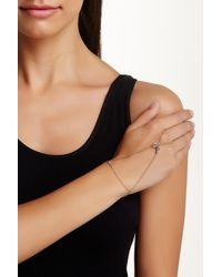 Elizabeth and James - Black 24k Gold Plated Created White Sapphire Marisol Hand Bracelet - Lyst