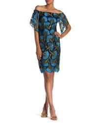 Trina Turk Blue Naomi Off-the-shoulder Print Dress