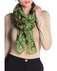 Versace Green Printed Woven Square Scarf