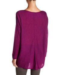 Eileen Fisher - Purple Bateau Neck Seamed Drop Shoulder Merino Wool Sweater - Lyst