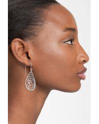 Argento Vivo Metallic Sterling Silver Teardrop Dome Lace Earrings