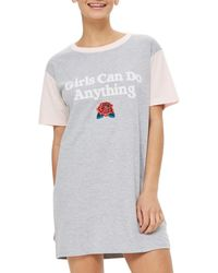 TOPSHOP - Gray Girls Can Do Anything Sleep Shirt - Lyst
