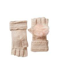 Shiraleah Natural Portia Faux Fur Pompom Fingerless Gloves