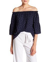 Kensie Blue Polka Dot Off-the-shoulder Blouse