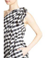 Carolina Herrera Multicolor Bow Detail One-shoulder Gingham Dress
