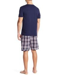 Psycho Bunny Blue Short Sleeve Jam Lounge Tee & Shorts Set for men