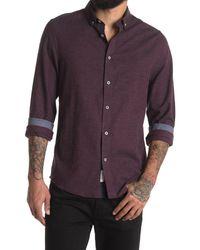 Report Collection Purple Melange Flannel Regular Fit Sport Shirt for men