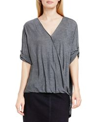 Two By Vince Camuto - Gray High/low Drape Front Top - Lyst
