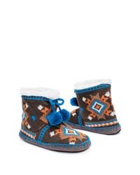 Muk Luks - Blue Printed Knit Pompom Faux Shearling Lined Bootie Slipper - Lyst