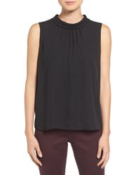 Vince Camuto Black Sleeveless Shirred Mock Neck Blouse