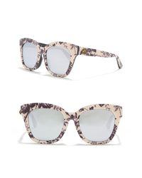 Gucci Metallic 52mm Print Squared Cat Eye Sunglasses