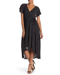West Kei Black Flutter Sleeve Dot Print High/low Faux Wrap Dress