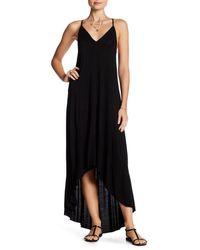 Splendid - Black V-neck Hi-lo Maxi Dress - Lyst