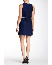 Shoshanna Blue Clark Sleeveless Embroidered Dress