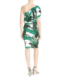 Tracy Reese - Green Print Jersey One-shoulder Flounce Dress - Lyst