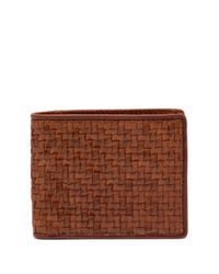 Tommy Bahama Brown Basket Woven Leather Billfold Wallet for men