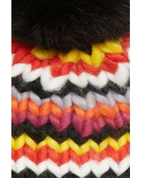 Trouvé Black Chunky Stitch Beanie With Faux Fur Pom & Fingerless Gloves Gift Set