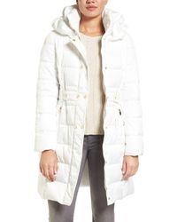 Via Spiga White Belted Puffer Coat