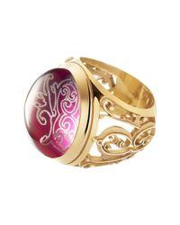 Baccarat - Metallic Favorite Gold Vermeil Oval Crystal Filigree Ring - Size 5.5 - Lyst