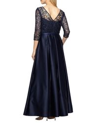 Alex Evenings - Blue Embellished Lace & Satin Ballgown - Lyst