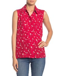 Pleione Red Floral Scalloped Collar Sleeveless Blouse