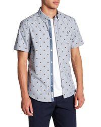 Original Penguin Blue Burger Print Short Sleeve Slim Fit Shirt for men