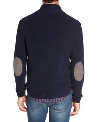 RODD AND GUNN - Blue Charlesworth Suede Patch Merino Wool Sweater for Men - Lyst